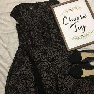Knee length black lace dress
